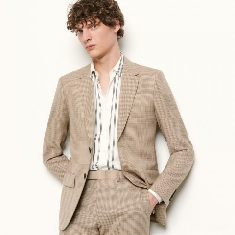 last chance micro checked suit jacket - beige best price limited sale