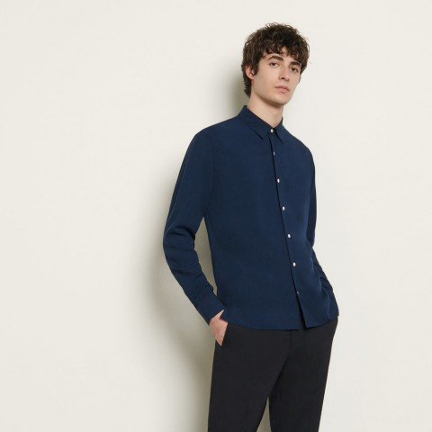 limited sale floaty viscose shirt - navy blue last chance best price