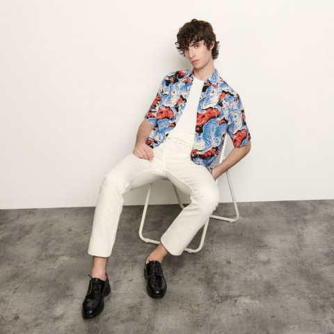 limited sale short-sleeved printed shirt - blue last chance best price