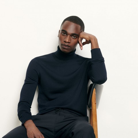 last chance roll neck wool sweater - navy blue best price limited sale