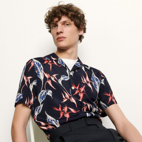last chance short-sleeved printed shirt - navy blue limited sale best price