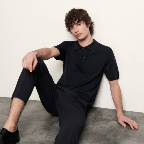 last chance fine knit polo shirt with short sleeves - navy blue best price limited sale