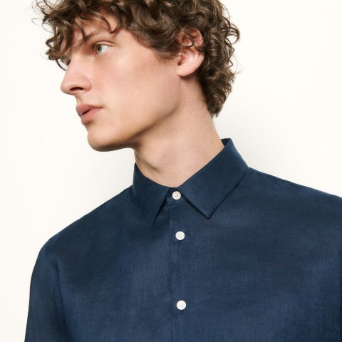 limited sale long-sleeved linen shirt - navy blue best price last chance