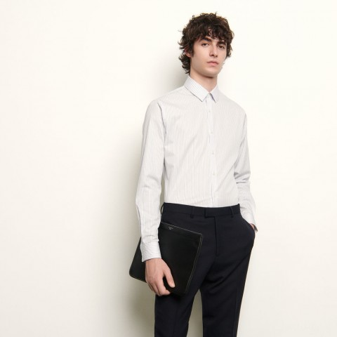 last chance formal shirt with stripes - white base/blue stripe best price limited sale