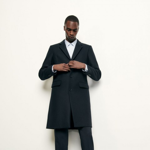 limited sale long coat fastened with three buttons - navy blue last chance best price
