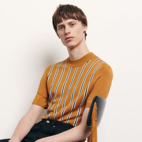 last chance striped knit t-shirt - camel best price limited sale