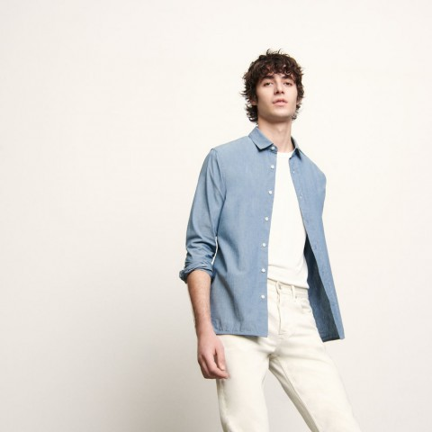 last chance chambray shirt - blue best price limited sale