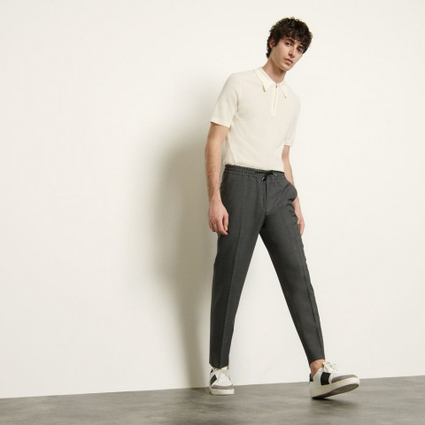 last chance wool trousers with elasticated waist - charcoal grey limited sale best price