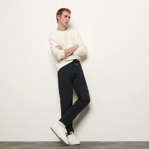 limited sale pants with elasticated waistband - navy blue last chance best price