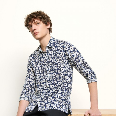 best price printed flowing shirt - navy blue last chance limited sale