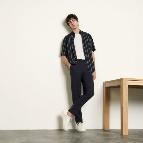 best price wool trousers with elasticated waist - navy blue last chance limited sale