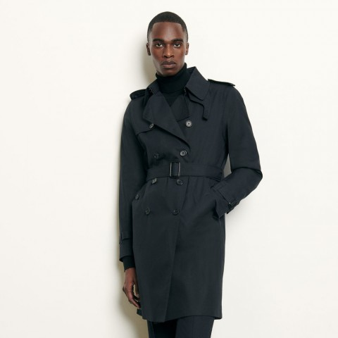 limited sale belted trench coat - navy blue last chance best price