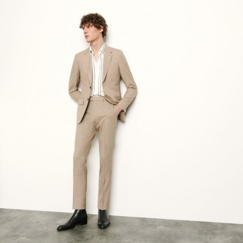 best price micro checked suit pant - beige limited sale last chance