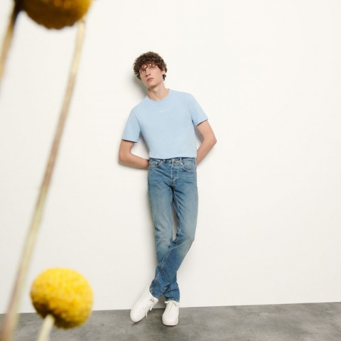 last chance faded blue jeans in stretch cotton - vintage denim best price limited sale
