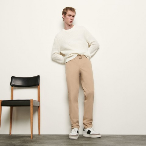 last chance pants with elasticated waistband - beige limited sale best price
