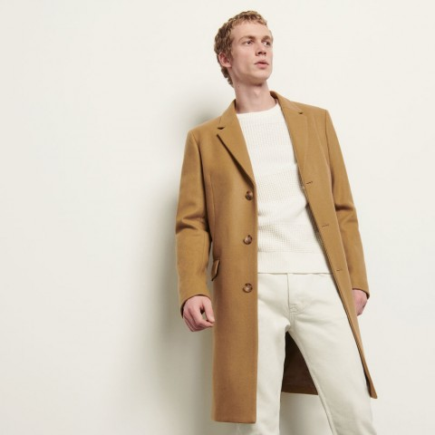 last chance long coat fastened with three buttons - beige best price limited sale