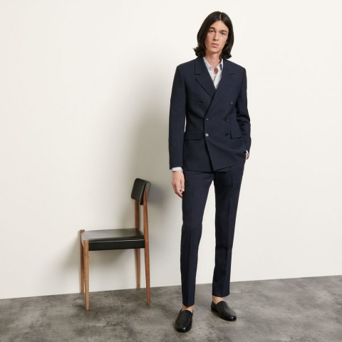best price double-breasted wool blazer - navy blue last chance limited sale