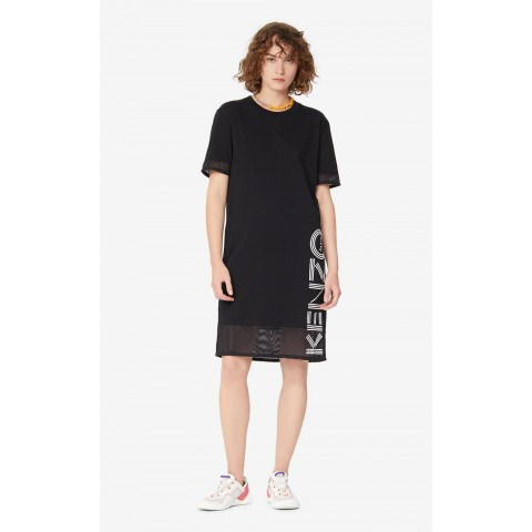 best price dual-material kenzo logo dress - black last chance limited sale