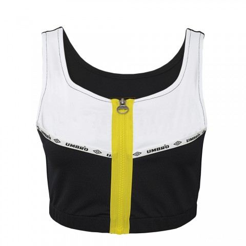 last chance zip front cropped tank - black beauty/ white best price limited sale