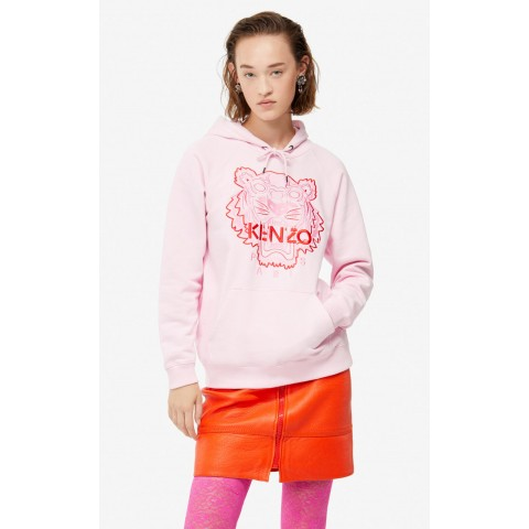 best price two-tone tiger hoodie - pastel pink last chance limited sale