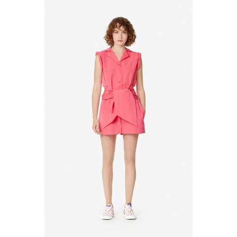 best price belted romper - coral limited sale last chance