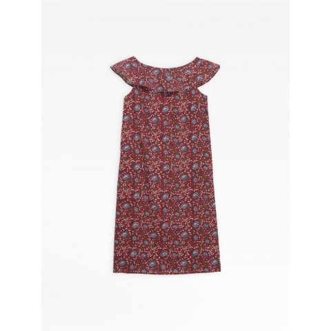 last chance red oma dress with floral print limited sale best price