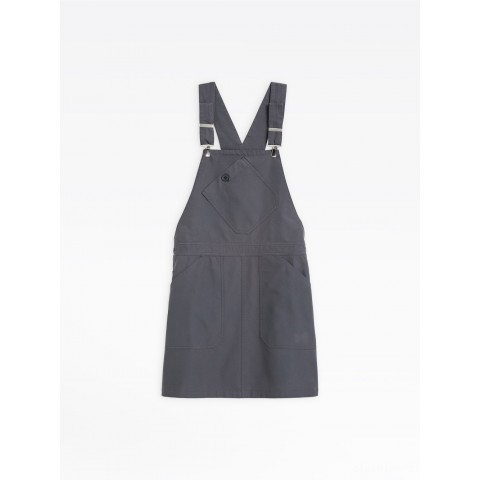 best price dark grey washed cotton overall dress limited sale last chance