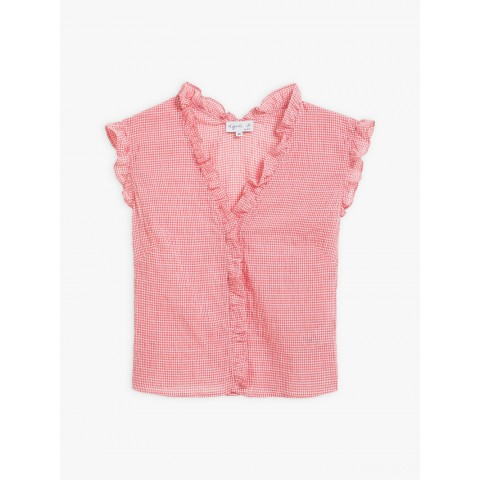 last chance pink gingham cotton crepe mohea shirt limited sale best price