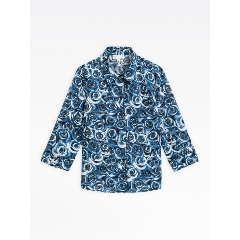 limited sale dark blue siloe shirt with roses print best price last chance