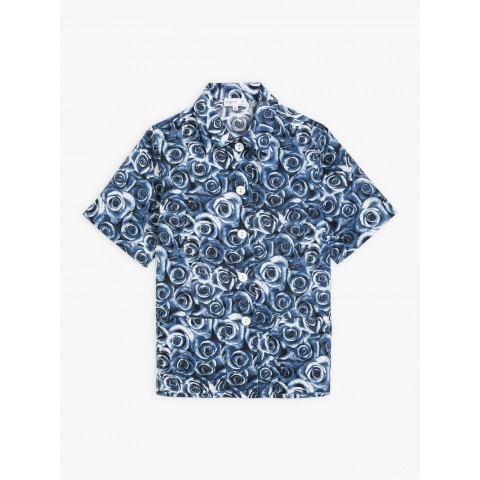 last chance dark blue shirt with roses print best price limited sale