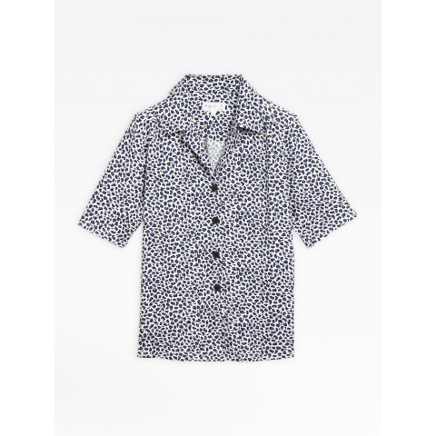 limited sale white and blue leopard print turner shirt last chance best price
