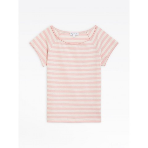 best price light pink and beige striped christine t-shirt limited sale last chance