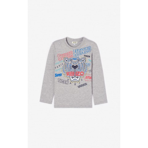 limited sale 'super kenzo' tiger t-shirt - middle grey best price last chance