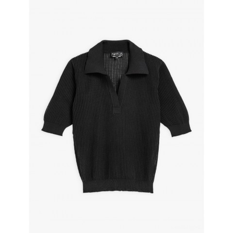 limited sale black ribbed knit prissy polo shirt last chance best price