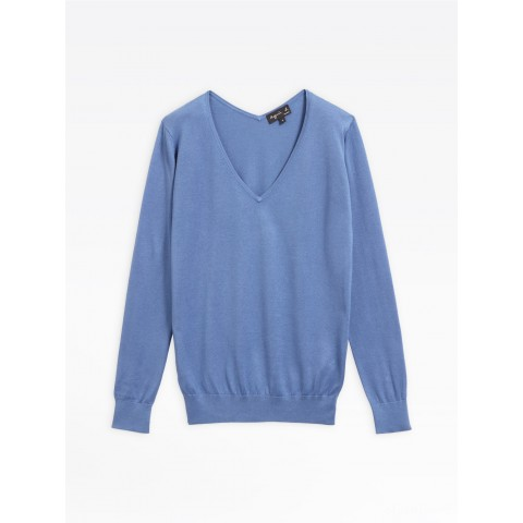 last chance blue silk and cotton sweater limited sale best price