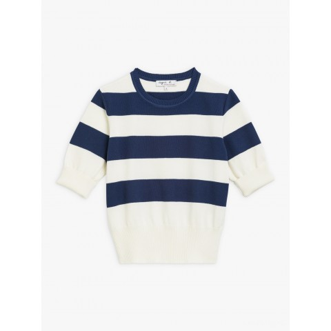 best price blue and off-white striped betty sweater limited sale last chance