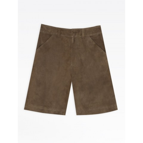 limited sale dark green suede leather shorts best price last chance