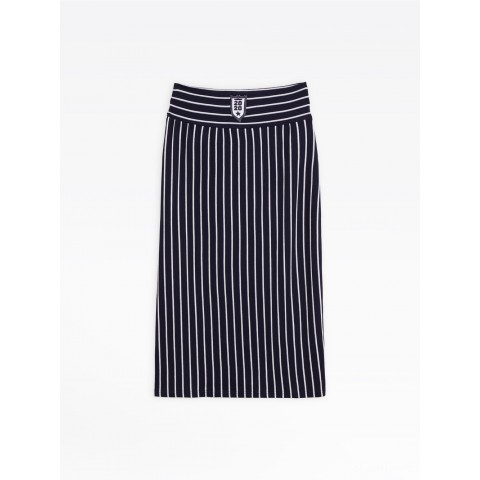 best price navy blue striped ottoman carie skirt last chance limited sale