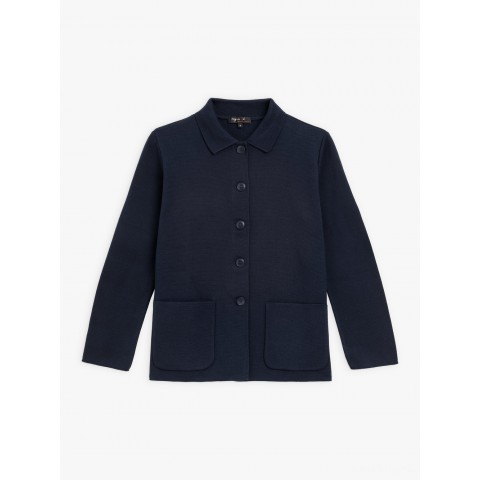 limited sale navy blue knitted jacket best price last chance