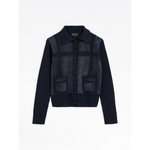 limited sale navy blue crochet work and suede leather joy jacket last chance best price