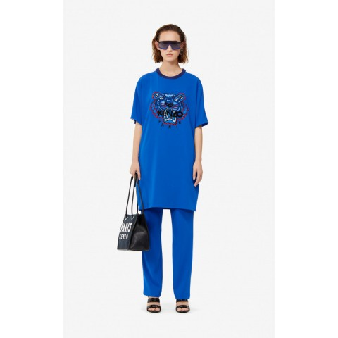 limited sale crepe tiger dress - french blue last chance best price